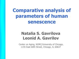 Comparative analysis of parameters of human senescence