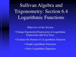 4.2 Logarithmic Functions