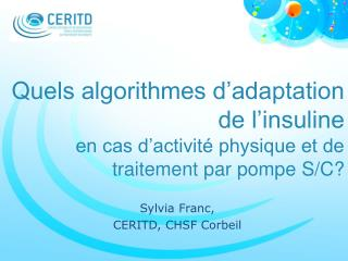 Sylvia Franc,  CERITD, CHSF Corbeil