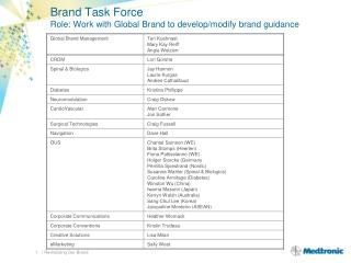 Brand Task Force Role: Work with Global Brand to develop/modify brand guidance