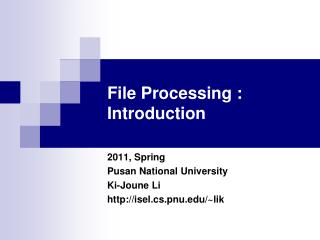 File Processing : Introduction