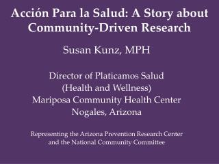 Acción Para la Salud: A Story about Community-Driven Research