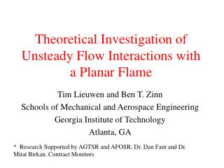 Theoretical Investigation of Unsteady Flow Interactions with a Planar Flame