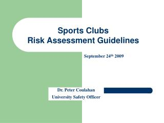 Sports Clubs Risk Assessment Guidelines