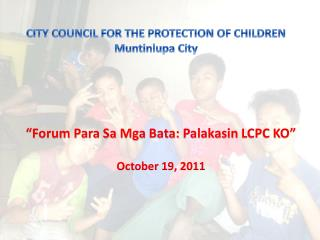CITY COUNCIL FOR THE PROTECTION OF CHILDREN Muntinlupa  City