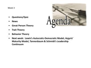 Questions/Quiz News Great Person Theory Trait Theory Behavior Theory