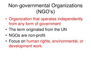 Non-governmental Organizations (NGO's)