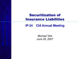Securitization of Insurance Liabilities