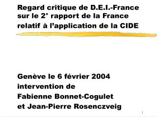 Regard critique de D.E.I.-France sur le 2° rapport de la France relatif à l'application de la CIDE