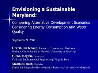 Envisioning a Sustainable Maryland: