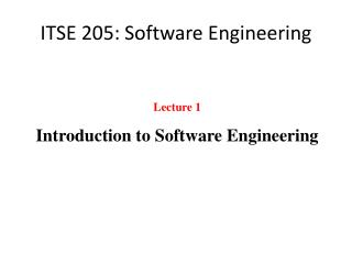 ITSE 205: Software Engineering
