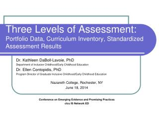 Three Levels of Assessment:  Portfolio Data, Curriculum Inventory, Standardized Assessment Results