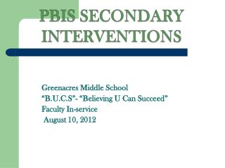 PBIS SECONDARY INTERVENTIONS