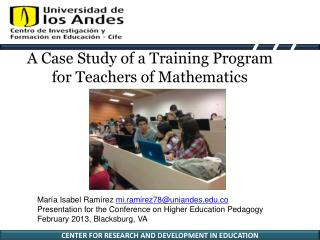 A Case Study of a Training Program for Teachers of Mathematics