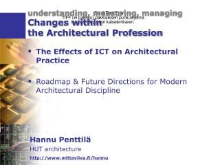 understanding, measuring, managing Changes within  the Architectural Profession