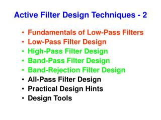 Active Filter Design Techniques - 2