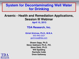 System for Decontaminating Well Water for Drinking