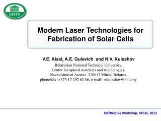 Modern Laser Technologies for Fabrication of Solar Cells