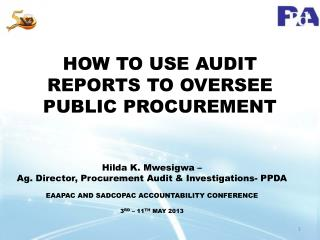 HOW TO USE AUDIT REPORTS TO OVERSEE PUBLIC PROCUREMENT