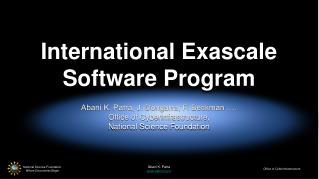 International Exascale Software Program