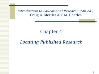 Chapter 4 Locating Published Research