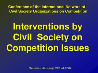 Interventions by Civil  Society on Competition Issues