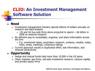 CLIO : An Investment Management Software Solution