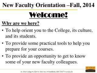 New Faculty Orientation –Fall, 2014