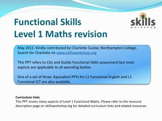 Functional Skills  Level 1 Maths revision