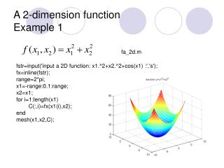 A 2-dimension function Example 1