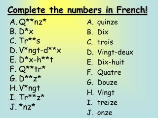 Complete the numbers in French!