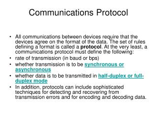 Communications Protocol