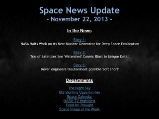 Space News Update - November 22, 2013 -