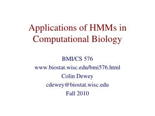 Applications of HMMs in Computational Biology