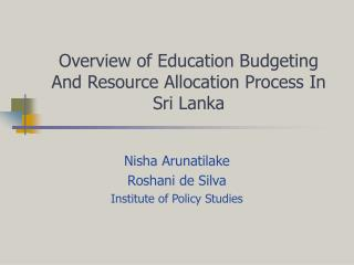 Overview of Education Budgeting And Resource Allocation Process In Sri Lanka