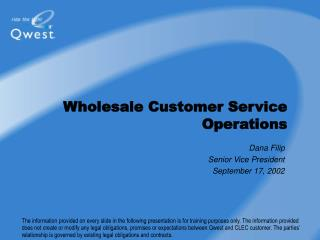Wholesale Customer Service Operations
