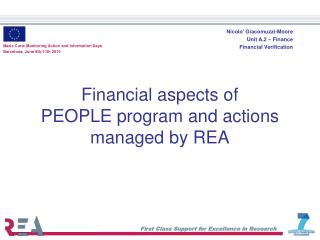 Financial aspects of  PEOPLE program and actions managed by REA