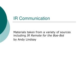 IR Communication