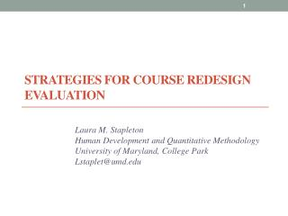 Strategies for Course Redesign Evaluation