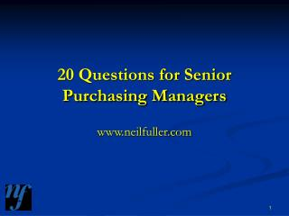 20 Questions for Senior Purchasing Managers