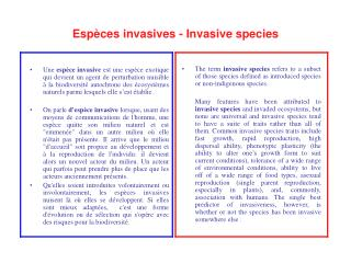 Espèces invasives - Invasive species