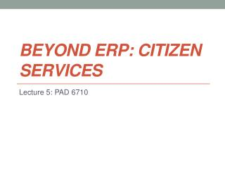Beyond ERP: Citizen Services