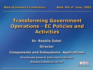 Transforming Government Operations - EC Policies and Activities