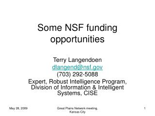 Some NSF funding opportunities