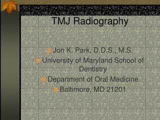 TMJ Radiography
