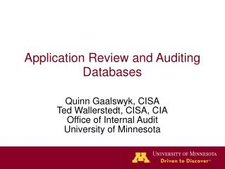 Application Review and Auditing Databases