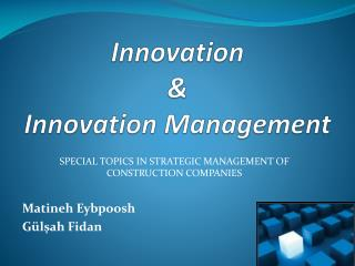Innovation  &  Innovation Management