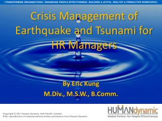 Crisis Management of Earthquake and Tsunami for HR Managers