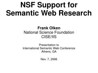NSF Support for Semantic Web Research