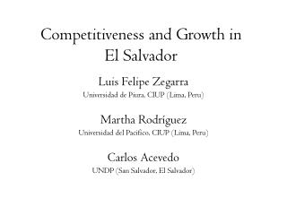 Competitiveness and Growth in  El Salvador